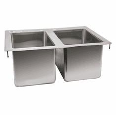"""Omcan 10"""" X 14"""" X 10"""" Stainless Steel Double Tub Drop In Sink With Flat Top, Model# 39782"""