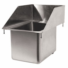 """Omcan 10"""" X 14"""" X 10"""" Stainless Steel Single Drop In Sink With 6"""" Left-Back-Right Splash, Model# 39786"""
