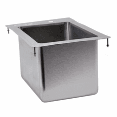 """Omcan 10"""" X 14"""" X 10"""" Stainless Steel Single Drop In Sink With Flat Top, Model# 39780"""