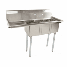 """Omcan 10"""" X 14"""" X 10"""" Stainless Steel Space Saver Sink With 16"""" Left Drain Board With Corner Drain, Model# 39762"""