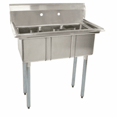 """Omcan 10"""" X 14"""" X 10"""" Stainless Steel Space Saver Sink With No Drain Board With Corner Drain, Model# 39761"""