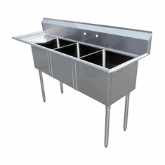 """Omcan 10"""" X 14"""" X 10"""" Three Tub Sink With 3.5"""" Center Drain And Left Drain Board, Model# 43755"""