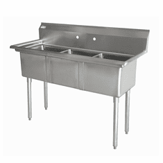 """Omcan 10"""" X 14"""" X 10"""" Three Tub Sink With 3.5"""" Center Drain And No Drain Board, Model# 43758"""