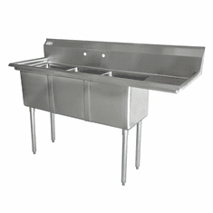 """Omcan 10"""" X 14"""" X 10"""" Three Tub Sink With 3.5"""" Center Drain And Right Drain Board, Model# 43757"""