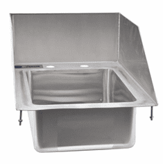 """Omcan 10"""" X 14"""" X 5"""" Stainless Steel Single Drop In Sink With 6"""" Left-Back-Right Splash, Model# 39785"""