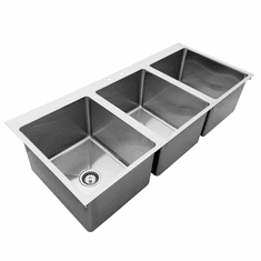 """Omcan 16"""" X 20"""" X 12"""" Stainless Steel Triple Drop In Sink With Flat Top, Model# 44604"""