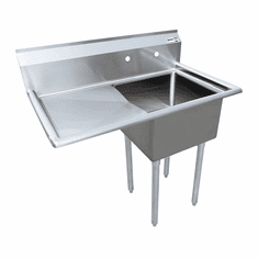 """Omcan 18"""" X 18"""" X 11"""" One Tub Sink With 3.5"""" Center Drain And Left Drain Board, Model# 43760"""