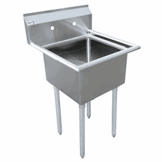 """Omcan 18"""" X 18"""" X 11"""" One Tub Sink With 3.5"""" Center Drain And No Drain Board, Model# 43761"""