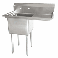 """Omcan 18"""" X 18"""" X 11"""" One Tub Sink With 3.5"""" Center Drain And Right Drain Board, Model# 43762"""