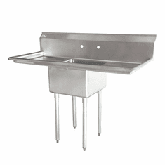 """Omcan 18"""" X 18"""" X 11"""" One Tub Sink With 3.5"""" Center Drain And Two Drain Boards, Model# 43759"""