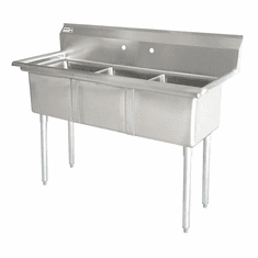 """Omcan 18"""" X 18"""" X 11"""" Three Tub Sink With 3.5"""" Center Drain And No Drain Board, Model# 43765"""