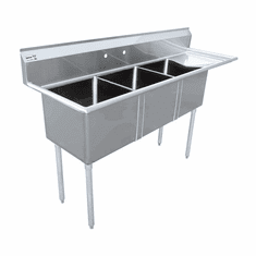 """Omcan 18"""" X 18"""" X 11"""" Three Tub Sink With 3.5"""" Center Drain And Right Drain Board, Model# 43766"""