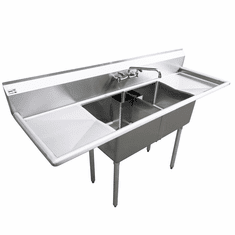 """Omcan 18"""" X 18"""" X 11"""" Two Tub Sink With 1.8"""" Corner Drain And Two Drain Boards, Model# 25252"""