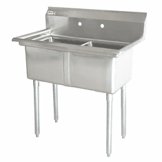 """Omcan 18"""" X 18"""" X 11"""" Two Tub Sink With 3.5"""" Center Drain And No Drain Board, Model# 43769"""