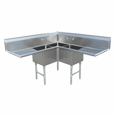 """Omcan 18"""" X 18"""" X 14"""" Three Tub Sink With Two Drain Boards And Corner Sink, Model# 43073"""
