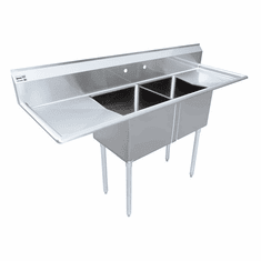 """Omcan 18"""" X 21"""" X 14"""" Two Tub Sink With 3.5"""" Center Drain And Two Drain Boards, Model# 43782"""