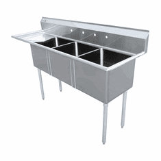 """Omcan 24"""" X 24"""" X 14"""" Stainless Steel Three Tub Sink With 3.5"""" Center Drain And Left Drain Board, Model# 43786"""