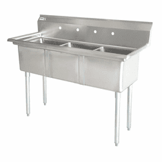 """Omcan 24"""" X 24"""" X 14"""" Three Tub Sink With 3.5"""" Center Drain And No Drain Board, Model# 43787"""