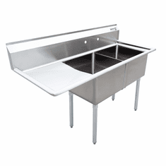 """Omcan 24"""" X 24"""" X 14"""" Two Tub Sink With 3.5"""" Center Drain And Left Drain Board, Model# 43790"""