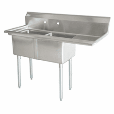"""Omcan 24"""" X 24"""" X 14"""" Two Tub Sink With 3.5"""" Center Drain And Right Drain Board, Model# 43792"""