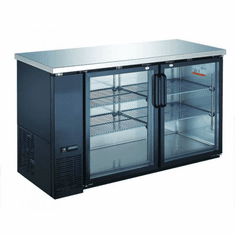 "Omcan (Fma) 49"" Double Glass Door Back Bar Cooler w/ 11.8 Cu Ft Capacity, Model 50058"