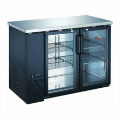 "Omcan (Fma) 61"" Double Glass Door Back Bar Cooler w/ 15.8 Cu Ft Capacity, Model 50060"
