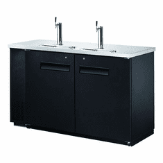 "Omcan (Fma) 61"" Solid Door Back Bar Cooler w/ Beer Dispenser 2 Taps 15.8 Cu Ft, Model 50064"