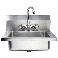 """Omcan Fabricated Hand Sink With 4"""" Gooseneck Faucet And Drain Basket, Model# 44585"""