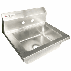 Omcan Fabricated Stainless Steel Wall Mounted Hand Sink With Two Holes, Model# 46582