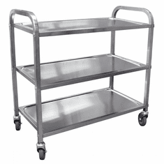 """Omcan (Fma) 31.5"""" x 17.6"""" Stainless Steel Bussing Cart, Model 24419"""