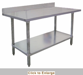 Omcan EL Series Work Table W X L SS Top Bcksplsh - 18 x 48 stainless steel work table