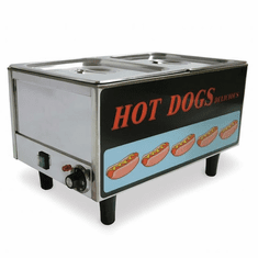 Omcan (Fma) Stainless Steel Hotdog Steamer & Bun Warmer - Holds 50 Dogs & 30 Buns, Model 17133