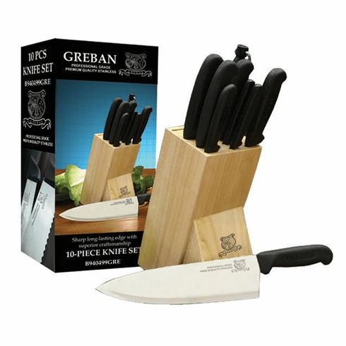 Omcan (Fma) Premium 10 Piece Knife Set w/ Knife Block, Model 12887