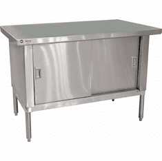 "Omcan (Fma) Knock Down Work Table. 48""W X 30""D. 18/430 Stainless Steel Top with Cabinet, No Backsplash NSF Model# 24397"