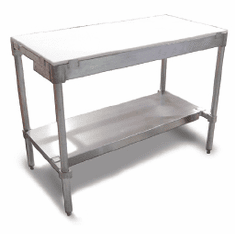 "Omcan (Fma) Polytop Table Frame 30""D X 48""W X 36""H with Stainless Steel Frame and Undershelf (Poly Boards Sold Separately) Model# 41276"