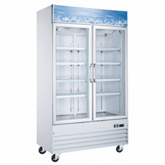 "Omcan (Fma) 49"" Double Glass Door Freezer w/ D Type Breaker, Model 50031"
