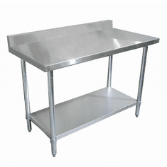 "Omcan (Fma) Standard Work Table 84""W X 30""D 18/430 Stainless Steel Top 4"" Backsplash NSF, Model# 22091"