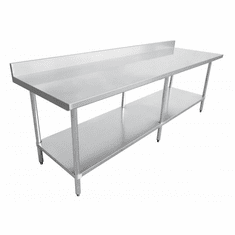 "Omcan (Fma) 30"" x 96"" Stainless Steel Work Table w/ 4"" Backsplash NSF Approved, Model 22092"
