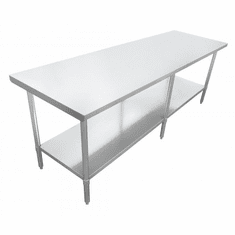 """Omcan (Fma) 24"""" x 96"""" Stainless Steel Work Table w/ 20 Gauge 430 Stainless NSF, Model 19141"""