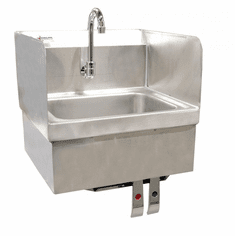 Omcan Hand Sink With Knee Valve Assembly And Side Splashes, Model# 37868