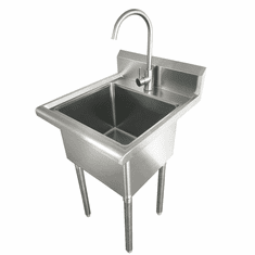 Omcan Laundry Sink With Faucet And Drain Basket, Model# 44593