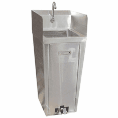 Omcan Stainless Steel Pedestal Sink With 2 Side Splashes, Foot Valve And Faucet, Model# 27180