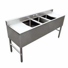 Omcan Under Bar Sink With 3 Compartments And Left And Right Drain Boards, Model# 44627
