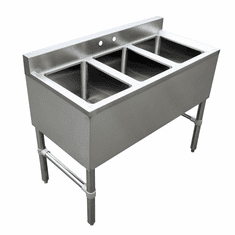 Omcan Under Bar Sink With 3 Compartments And No Drain Board, Model# 44601