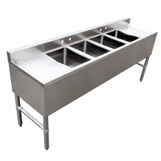 Omcan Under Bar Sink With 4 Compartments And Left And Right Drain Boards, Model# 44603