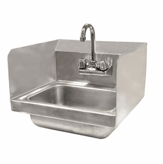 Omcan Wall Mounted Hand Sink With Faucet And Side Splashes, Model# 37867