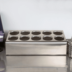 Steril-Sil 10-hole (2x5) countertop silverware and condiment dispenser. Holds Steril-Sil silverware cylinders or 30 oz. condiment containers. Made in the U.S.A. Model TC-10