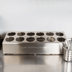 Steril-Sil 12-hole (2x6) countertop silverware and condiment dispenser. Holds Steril-Sil silverware cylinders or 30 oz. condiment containers. Made in the U.S.A. Model TC-12