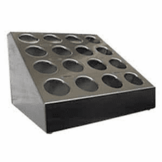 Steril-Sil 16-hole (4x4) countertop silverware and condiment dispenser. Holds Steril-Sil silverware cylinders or 30 oz. condiment containers. Made in the U.S.A. Model TC-16
