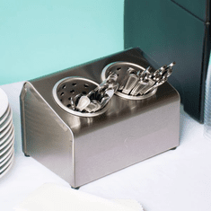 Steril-Sil 2-hole (1x2) countertop silverware and condiment dispenser. Holds Steril-Sil silverware cylinders or 30 oz. condiment containers. Made in the U.S.A. Model LTC-2